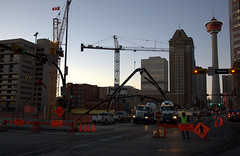 Centre Street closed for concrete pour (LUMIN8) Tags: canada calgary skyline construction downtown availablelight cranes alberta downtowncalgary thebow d40x