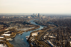 Minneapolis (Aaron Landry) Tags: snow minnesota skyline river evening flying aviation bridges minneapolis mississippiriver i94 interstate94