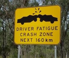 Driver Fatigue Crash Zone (tm-tm) Tags: sign warning crash australia signage queensland fatigue oceania yellowwarningsign