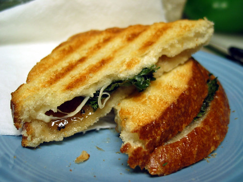 Grilled cheese with onion jam, Emmentaler, and escarole