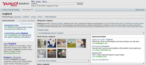 Sponsored Links on Yahoo! Glue Pages