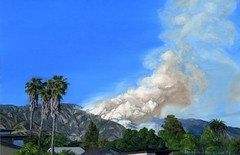 Collective Amnesia (Echo_29) Tags: art fire landscapes losangeles gallery palmtrees southerncalifornia brushfire oilpainting sangabrielmountains artopening sierramadre disasters metrogallery maryaustinklein collectiveamnesia