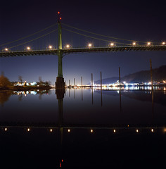 My rock, My cathedral... my bridge (Zeb Andrews) Tags: city urban usa color reflection film architecture night oregon square portland dusk bridges hasselblad pdx suspensionbridge willametteriver stjohnsbridge hasselblad500c bluemooncamera zebandrews zebandrewsphotography