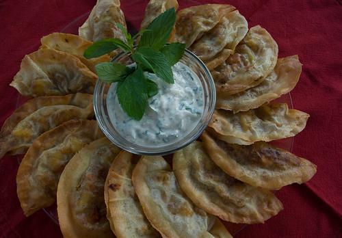 Vegetable Samosas with Mint Yogurt Sauce