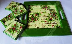 Bandeja & Porta vasos Navidad (Taller Mariposas Amarillas) Tags: arte country mdf decoracion navidad hogar casa bandeja portavasos