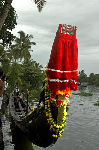 A Racing Snake Boat in Full Regalia Of Red And A Garland of Limes