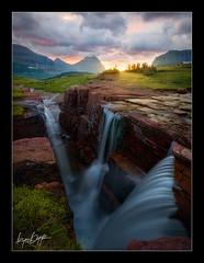 Convergence (Ryan Dyar) Tags: light sunrise waterfall montana glaciernationalpark loganpass triplefalls ryandyar