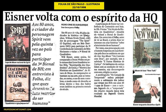 """""""Eisner volta com o espírito da HQ"""" - Folha de São Paulo - 22/10/1998"""