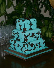 Blue & Brown Wedding Cake (kelannfuller) Tags: blue brown leaves cake square aqua chocolate weddingcake fondant bluecake noveltycake blueweddingcake noveltyweddingcake