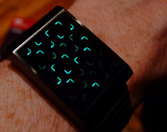 An obfuscated wristwatch displaying the time
