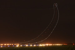 Twisty Turny Lights (Kris Klop - clearskyphotography.com) Tags: light sky ex night plane airplane lights fly flying airport long exposure aircraft aviation jet off des take boeing fedex fed takeoff dsm moines desmoines 727 b727 kdsm