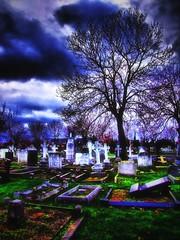 Graveyard HDR (Deathwaves) Tags: sky tree green graveyard grass clouds headstones rhyl hdr anawesomeshot