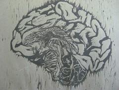 brain, linocut