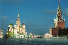 St Basils, Kremlin & Red Square by night (chris.bryant) Tags: longexposure sky architecture night buildings spiral concrete lights evening russia moscow redsquare turrets kremlin stbasils