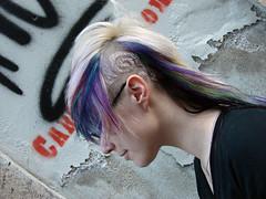 purple and blue hair jezz (wip-hairport) Tags: blue wild color hair punk long cut lisbon shaved violet artificial short dye hairport