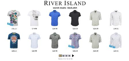River Island site search