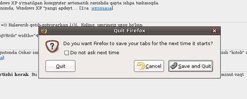 Firefox 3: Save tabs on quit