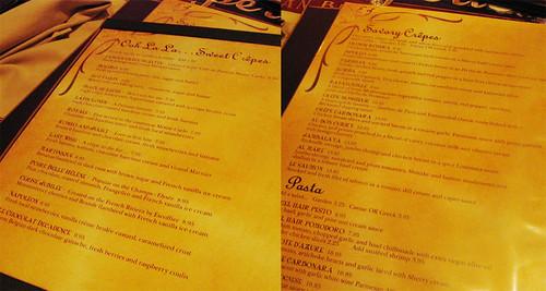 La Creperie's menu