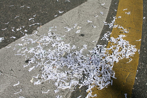 Shredded documents everywhere