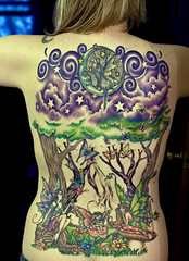 Work in Progress (Kerrie Lynn Photography (Sugaree_GD)) Tags: trees woman moon female clouds forest butterfly back purple butterflies tattoos fairy views faery swirls fairies 10000 kerrie faeries backpiece fae amybrown tattooed staceysharp sugareegd inkalternative keirwells