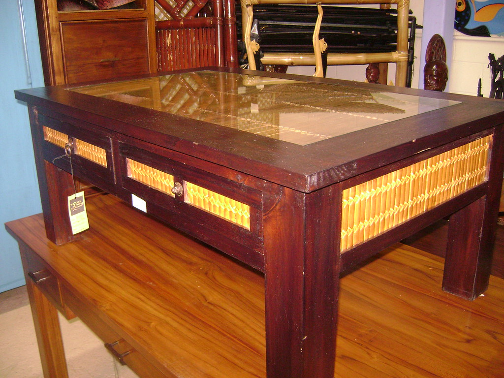 Teak Bamboo Coffee Table - WorldWide Furnishings 970 Queen St Honolulu Hawaii 96814: (Diamond Head Side of Ward) Open Monday-Sunday 10am-6pm Stop by or Call 808-593-2127