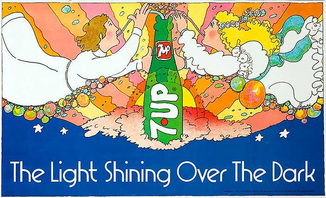 7Up_The Light Shining Over the Dark_vintage UnCola poster signed by Pat Dypold
