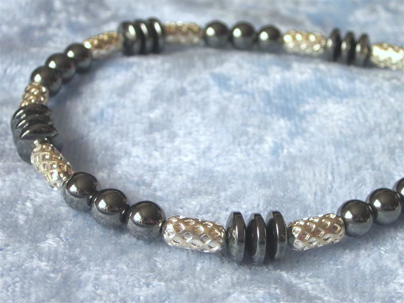 Hematite and Silver Basket weave Bracelet