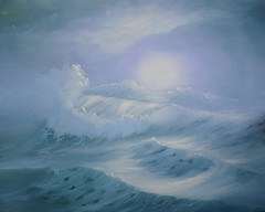 Aqua Mist (Sherry Winkler) Tags: ocean sun mist seascape painting landscape aqua waves wave canvas oil sherry stretched weisel