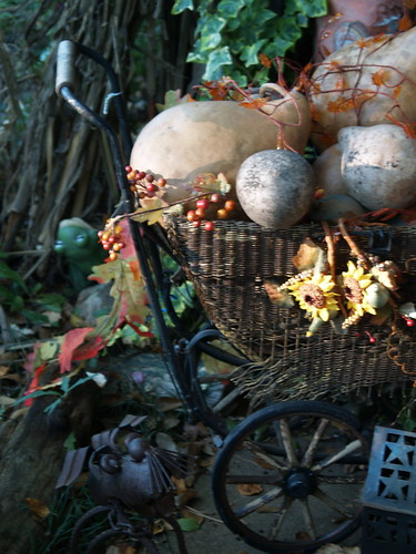 vintage carriage deocrated for fall