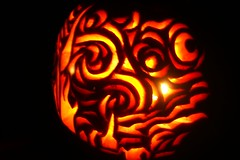 Pumpkin Carving- Starry Night (Carrie J. Bosch) Tags: light silly halloween face night pumpkin jack cow candle time o jackolantern carving glowing sue lantern starry lindy winking