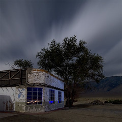 ATER (Lost America) Tags: lightpainting abandoned night clouds gasstation fullmoon ghosttown highway395 nocturnes olancha