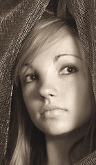 Sepia girl (Juli's pix) Tags: portrait girl sepia portraits dramatic sepiaportrait lookingthrough kelsi sepiagirl