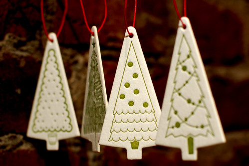 Letterpress gift tags, repurposed into ornaments