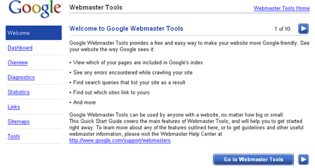 guide webmaster tools