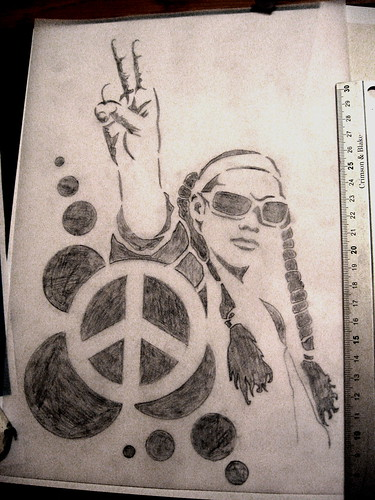 Love & Peace [sketch for stencil - work in progress]