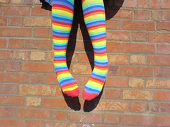 Life is better with rainbow coloured socks (Her life in pictures) Tags: blue friends shadow red summer england orange brick green love feet me strange yellow socks mobile wall contrast wonderful fun happy weird interestingness amazing cool nice rainbow colorful toes mine peace arty purple legs bright random indigo multicoloured funky it best clothes loveit colored colourful favourite wacky colouful