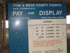 Pay and display sign from car park level 12