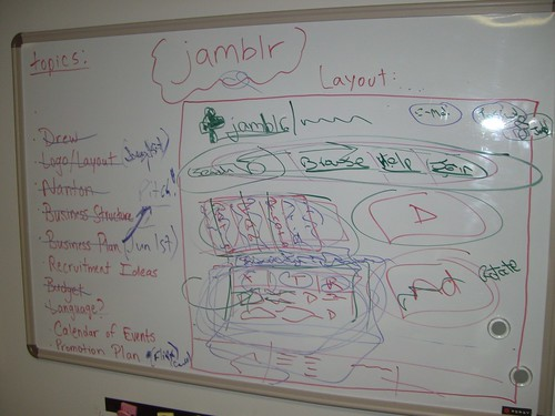 Jamblr site on a whiteboard