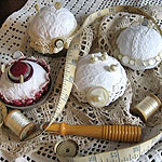 Shabby pincushions from upcycled materials
