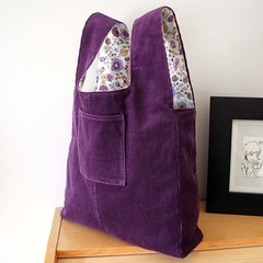 Damson and lilac reversible market tote bag (pouchbags) Tags: uk flowers vintage shopping purple market handmade kitsch retro lilac fabric environment bags recycling eco purses tote repurposed reversible upcycled