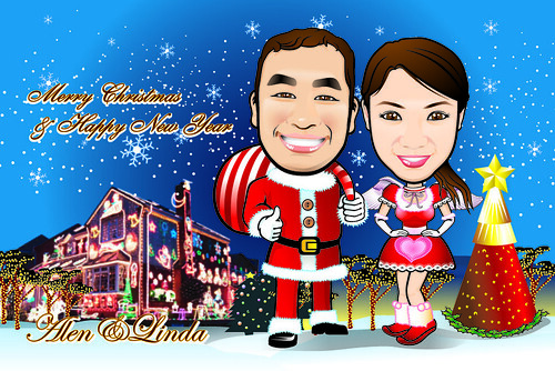 Q Digital Caricature Christmas Theme Drawing