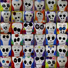 more Day of the Dead skulls (artsy_T) Tags: flowers collage dayofthedead skulls silk 3rdgrade elementaryart cutpaperglittertempera