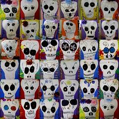 more Day of the Dead skulls (artsy_T) Tags: flowers collage dayofthedead skulls silk 3rdgrade elementaryart cutpaperglittertempera