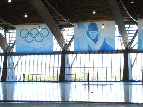 Richmond Oval post-2010 Olympics renovation - volleyball net on hardwood court
