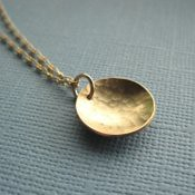 Hammered Golden Circle Necklace