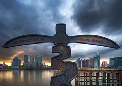 < Waterloo Station | Thames Barrier > Canary Wharf / London (zzapback) Tags: city uk sunset england urban panorama london sign thames river photography big zonsondergang rotterdam nikon fotografie view angle britain united capital greenwich great north wide o2 sigma kingdom arena route national cycle wharf gb network canary ultra 1224mm hdr stad thamespath dg engeland londen uwa rivier photomatix groothoek hsm hoofdstad koninkrijk verenigd blackwallpoint d700 drawdockroad zzapback zzapbacknl meridiangardens stayawakeenjoyyourday