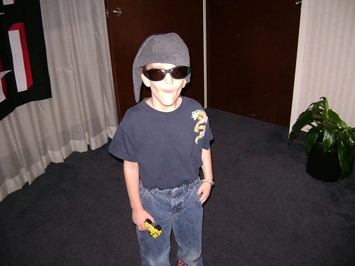 Derek Long tries on my sunglasses
