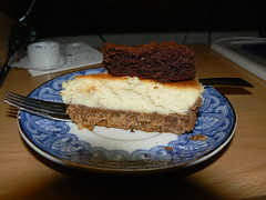 P1110929 (delirious_equilibrium) Tags: food dessert yummy sweet chocolate cheesecake delicious mmm brownie