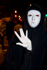 White Masked Woman, Halloween Parade, Park Slope, Brooklyn NY (jackie weisberg) Tags: city nyc newyorkcity costumes people urban holiday ny newyork halloween vertical brooklyn costume seasons mask image cities parkslope dressup parades parade masks photograph american nightime newyorkstate recreation masked northeast halloweenparade neighborhoods nys thebigapple kingscounty colorimage whitemask americanholiday jackieweisberg
