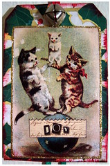 Cat Christmas Tag Ornament (Jane (on break)) Tags: red cats green collage cat diy bell handmade joy victorian kitty bow christmasornament etsy 07 efa victorianinspired catchristmas janediamond catornament catcollage tagornament janediamonddesigns